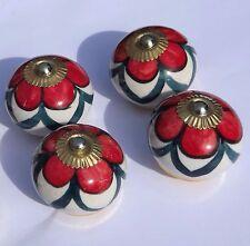 porcelana cerámica Tira de Botones Blanco Redondo Flor Roja Verde Pétalos (