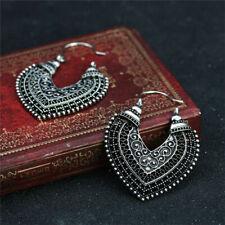 925 Sterling Silver Elegant Vintage Style Tibetan Tibet Heart Hook Earrings