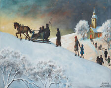 Nystrom Jenny Returning From Church On Christmas Morning Canvas 16 x 20   #3525
