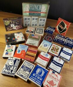 Lot of 26 Playing Cards decks Mixed of New & Used VINTAGE & UNIQUE Uno & Flinch