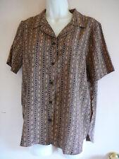 Liz Baker Blouse Size S Short Sleeve Brown Career Geometric Prints Polyester