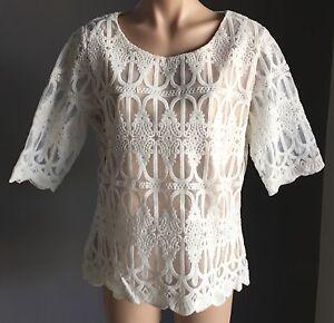 CROSSROADS White & Blush Lace Overlay Short Sleeve Top Size 10