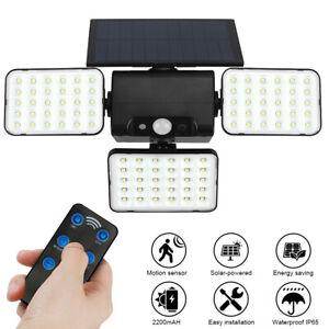 Solar Security Lights 3 Heads Motion Sensor 360° Adjustable Spotlights + Remote