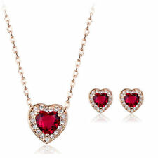 Rose Gold Plated Red Costume Jewellery Sets
