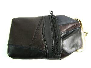 Unisex Super Soft Patchwork Genuine Leather Glasses Holder Protector with Pocket