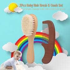 Infant Natural Wood Hair Brush Comb Set Soft Goat Wool Hair Scalp Massage R4F1