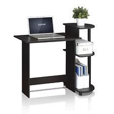 Furinno Compact Computer Desk with Shelves, Espresso/Black, 11181EX/BK
