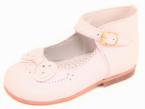 DE OSU - Baby Girls Pink Leather Dress Shoes - European 21 US Size 6