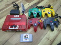Nintendo 64 Console Clear Red w/4controller Cable Mario Kart N64 P387