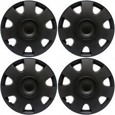 "Hub Cap ABS BLACK Matte 15"" Inch Rim Wheel Cover 4 piece Covers Hubcaps Caps"