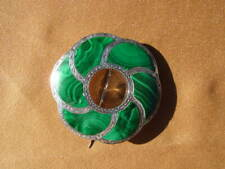 """Pinwheel Swirl 1 7/8"""" Pendant Brooch Vintage Mexico Large Malachite And Sterling"""