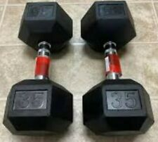 New Weider 35lb Dumbbells Pair Rubber Coated Hex Set 70lb Total Free Shipping