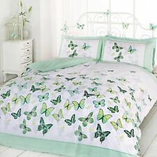 Art Double Duvet Cover and 2 Pillowcase Bed Set Polycotton Green