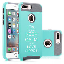 For iPhone SE 6 6s 7 Plus Dual Shockproof Hard Case Cover Keep Calm Love Hippos