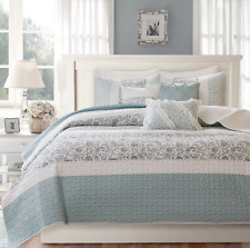 Queen Full Size Bedding Quilt Set Coverlet Bedspread Soft Blue White Paisley 6PC