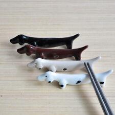 Cute Animal Dachshund Ceramic Chopsticks Rest Rack Holder Kitchen Cutlery Stand