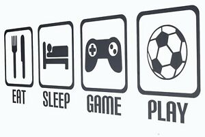 Eat Sleep Game Play Repeat - Wall Art Decals/Stickers - Various Colours