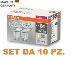 10 Pezzi Faretto LED OSRAM LED GU10 LED 4,3W = 50W 36° 2700K LUCE CALDA