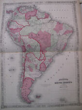 Hand Colored Map Johnson's Atlas South America Brazil Venezuela Uruguay 1863