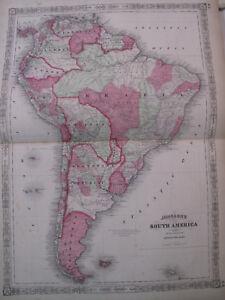 Hand Colored Map Johnson's Atlas South America Brazil Venezuela Uruguay 1863