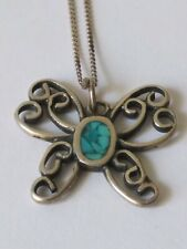 NATIVE AMERICAN STERLING INLAY TURQUOISE BUTTERFLY NECKLACE (2.3 grams)