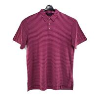 Polo Golf Ralph Lauren Mens Large Polo Shirt Pima Cotton S/S Pink White Striped