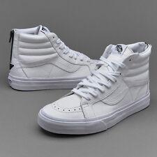 Vans SK8-Hi Reissue Zip Size 10 Mens Premium Leather Sneaker True White/Black
