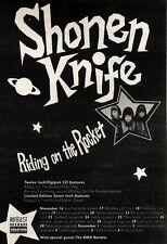 "7/11/92PGN15 SHONEN KNIFE : RIDING THE ROCKET SINGLE ADVERT 7X5"""