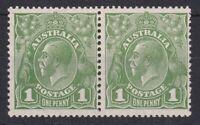 G642) Australia 1926 1d Green KGV Small mult wmk perf 13½ x 12½, die I & II pair