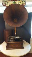 Antique Edison Triumph Cylinder Phonograph Wood Oak Horn - Plays, Is A Project