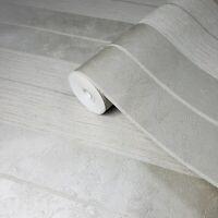 Wallpaper Silver Cream Striped Textured Stripes modern faux plaster textures 3D