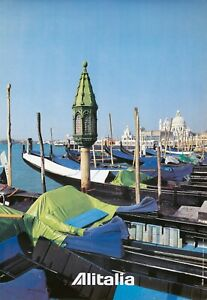 Original Vintage Poster Alitalia Venice Gondolas Italy Travel