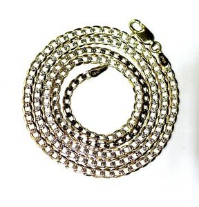 """10k yellow white gold 20 1/2"""" curb link diamond cut necklace 6.2g 2.9mm"""