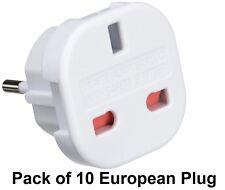 Pack of 10 UK TO EU EURO EUROPE EUROPEAN TRAVEL ADAPTOR PLUG 2 PIN