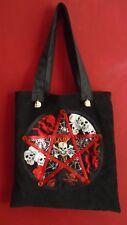 Custom-made patchwork Grinning Skulls tote bag - black/red - Halloween/Samhain