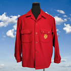 Vtg Boy Scouts Official Jacket Red Wool Button Up Pocket Patch Mens L USA Made
