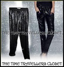 BNWT Jack Wills Sonsett Matt Black Sequin Silk Tapered Trousers Lined UK 6 8 10