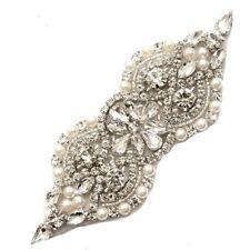 """Crystal Rhinestone Applique w/ Pearls Beaded Sewing Craft Bridal 4.75"""" (GB612)"""
