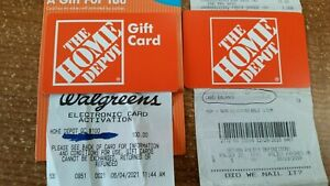 HOME DEPOT Gift cards value $107.91