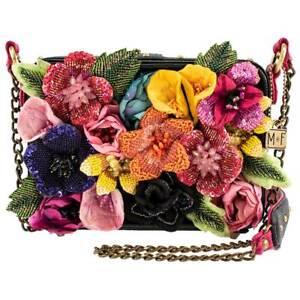 MARY FRANCES Flighty Dragonfly Bag Green Flowers Handbag Purse White Black