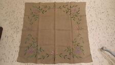 "Antique Ecru Linen Satin Embroidered TABLECLOTH, Floral, Pink, 34""x32"""