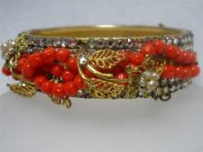 Miriam Haskell Rose Montee Baroque Pearl Glass Bead Bangle Bracelet~AS IS