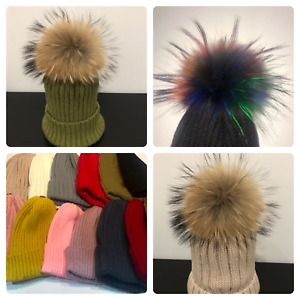 Genuine Real Fur Detachable Pom Pom knitted Hat with Giant bobble 2020 colours