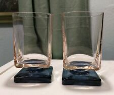 Lot 2 VINTAGE DI SARONNO Blue and Pink Square Footed cordial bar Glasses