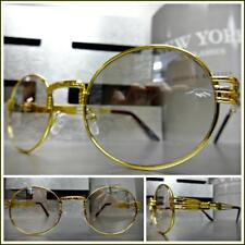 CLASSIC VINTAGE RETRO Style Clear Lens Slight Tint Eye Glasses Gold Oval Frame