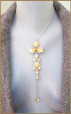 NEW PILGRIM SILVER CHAIN NECKLACE CRYSTALS ENAMEL YELLOW LILY FLOWER DROP DANGLE