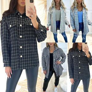 Women's Dogtooth Tweed Shacket Ladies Oversized Button Shirt Jacket New