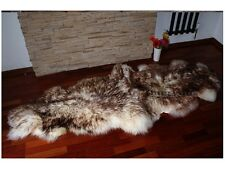 White brown double sheepskin rug natural soft  wool