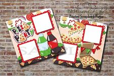 Pizza Party ~ 2 PRINTED Premade Scrapbook Pages, Food Drink Layout BLJgraves 34
