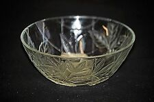 """Classic Style Indonesia 5"""" Diameter Frosted Clear Glass Bowl Daisy Pattern"""